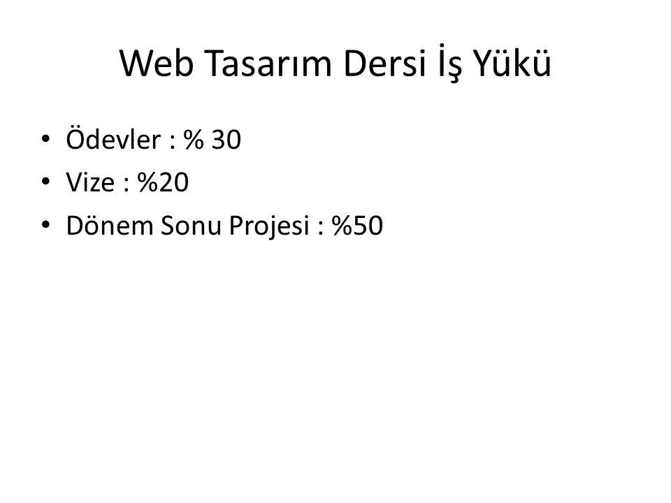 Web Tasarım Dersi İş Yükü Ödevler : % 30 Vize : %20 Dönem Sonu Projesi : %50