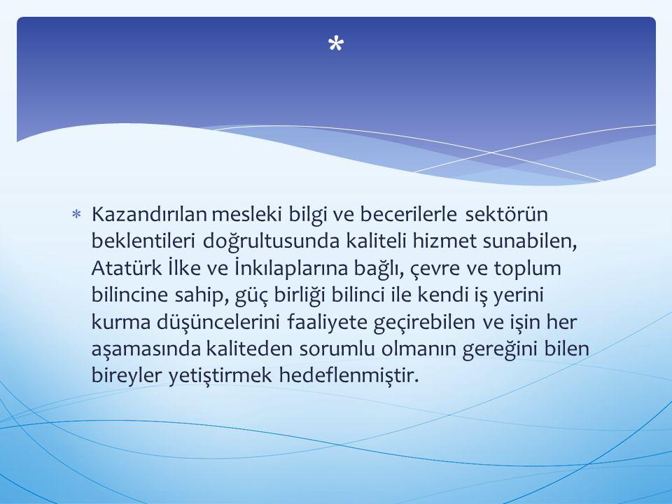  Kazandırılan mesleki bilgi ve becerilerle sektörün beklentileri doğrultusunda kaliteli hizmet sunabilen, Atatürk İlke ve İnkılaplarına bağlı, çevre