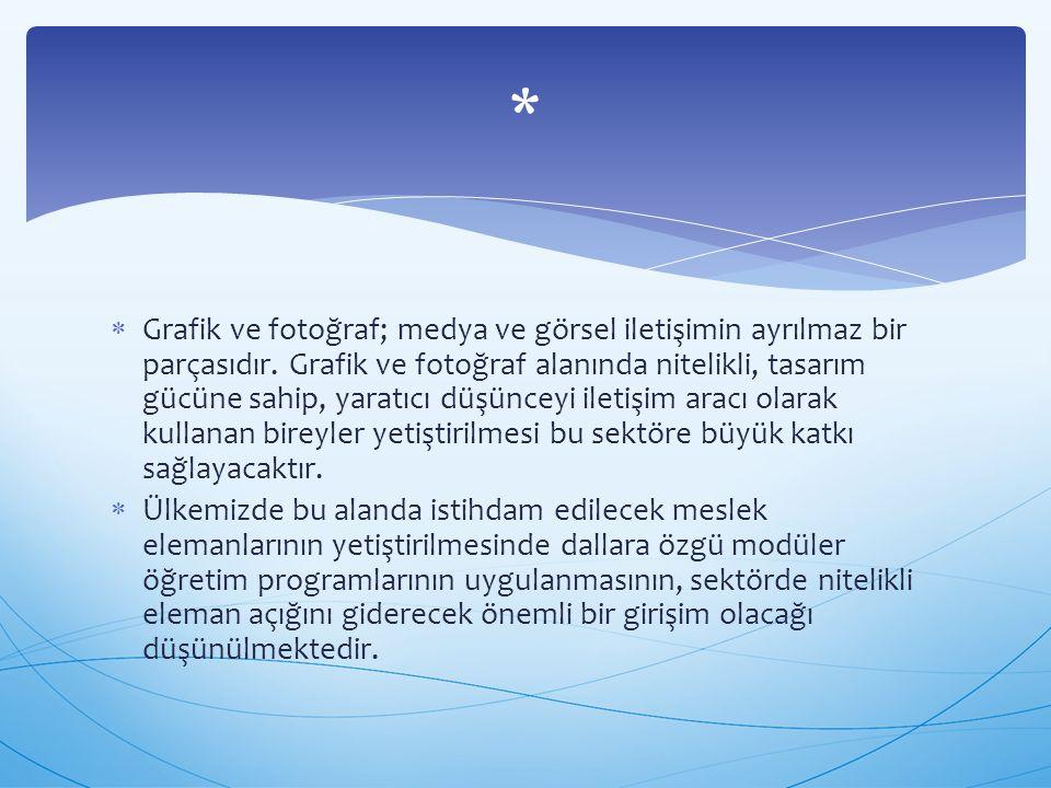  Grafik ve fotoğraf; medya ve görsel iletişimin ayrılmaz bir parçasıdır. Grafik ve fotoğraf alanında nitelikli, tasarım gücüne sahip, yaratıcı düşünc