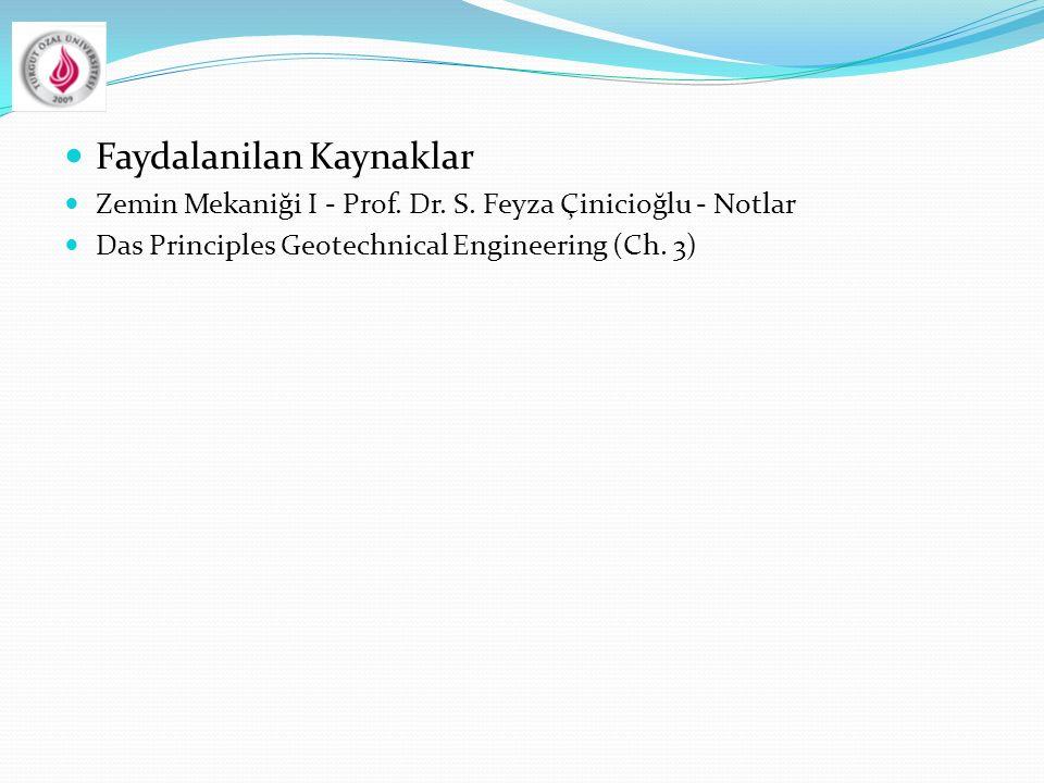 Faydalanilan Kaynaklar Zemin Mekaniği I - Prof. Dr. S. Feyza Çinicioğlu - Notlar Das Principles Geotechnical Engineering (Ch. 3)
