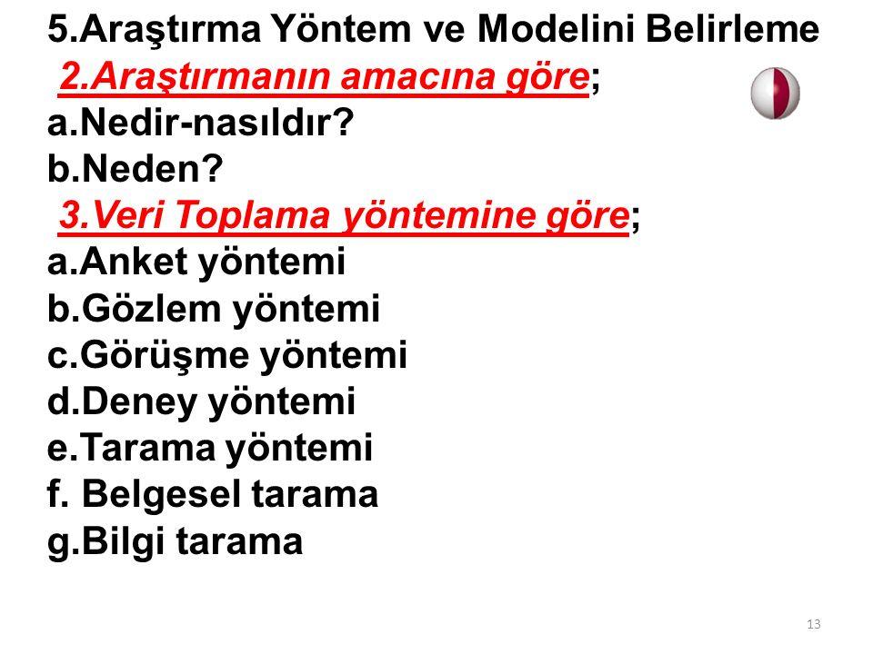 5.Araştırma Yöntem ve Modelini Belirleme 2.Araştırmanın amacına göre; a.Nedir-nasıldır.