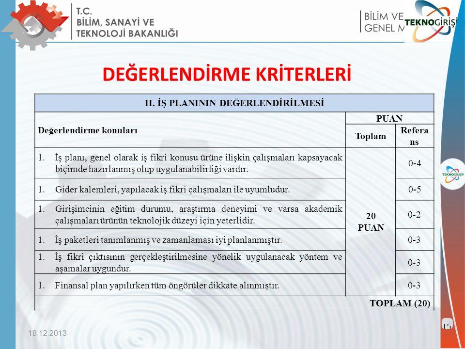 18.12.2013 15 DEĞERLENDİRME KRİTERLERİ II.