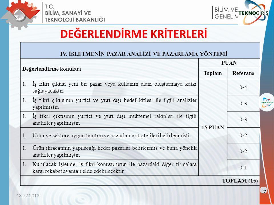 18.12.2013 17 DEĞERLENDİRME KRİTERLERİ IV.