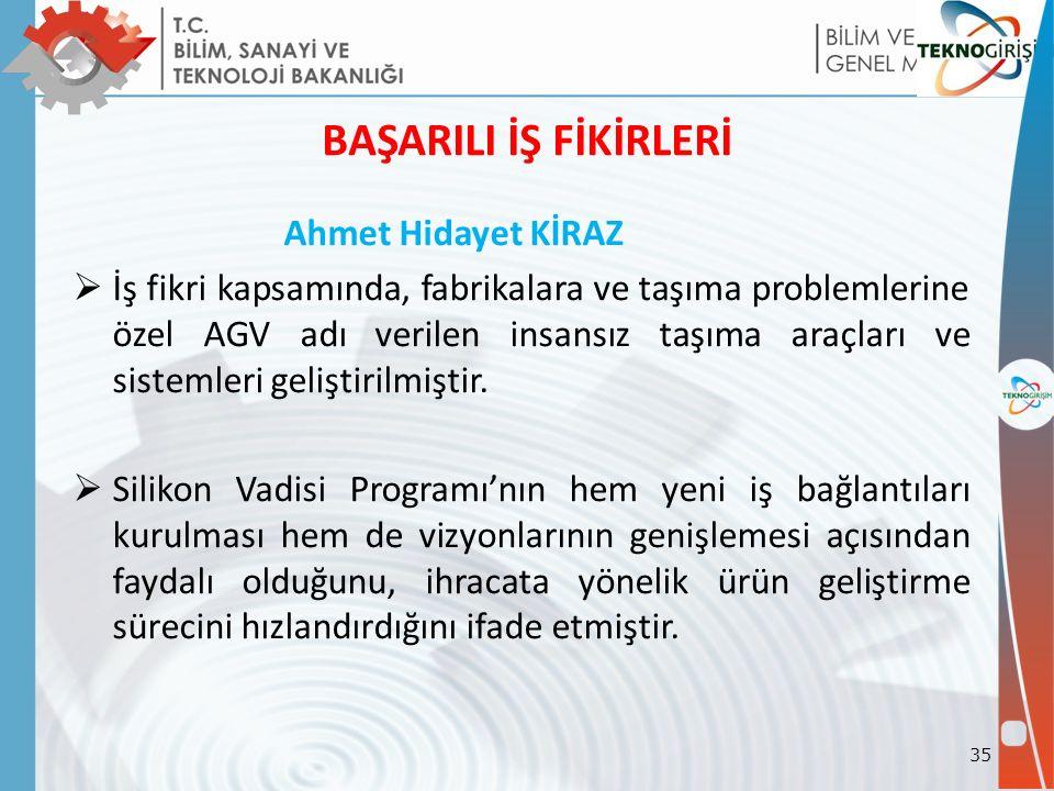 BAŞARILI İŞ FİKİRLERİ Ahmet Hidayet KİRAZ  İş fikri kapsamında, fabrikalara ve taşıma problemlerine özel AGV adı verilen insansız taşıma araçları ve sistemleri geliştirilmiştir.