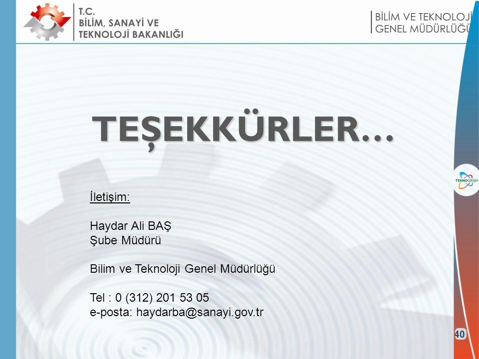 TEŞEKKÜRLER… 40 İletişim: Haydar Ali BAŞ Şube Müdürü Bilim ve Teknoloji Genel Müdürlüğü Tel : 0 (312) 201 53 05 e-posta: haydarba@sanayi.gov.tr