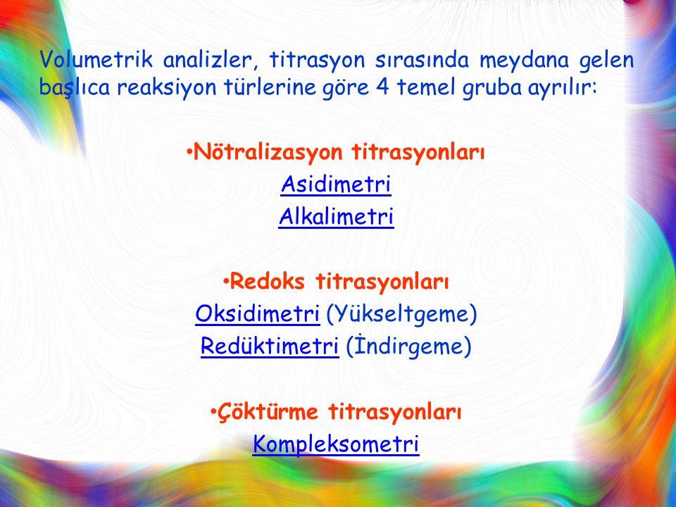 Volumetrik analizler, titrasyon sırasında meydana gelen başlıca reaksiyon türlerine göre 4 temel gruba ayrılır: Nötralizasyon titrasyonları Asidimetri