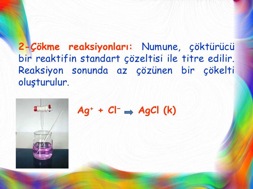 2-Çökme reaksiyonları: Numune, çöktürücü bir reaktifin standart çözeltisi ile titre edilir. Reaksiyon sonunda az çözünen bir çökelti oluşturulur. Ag +