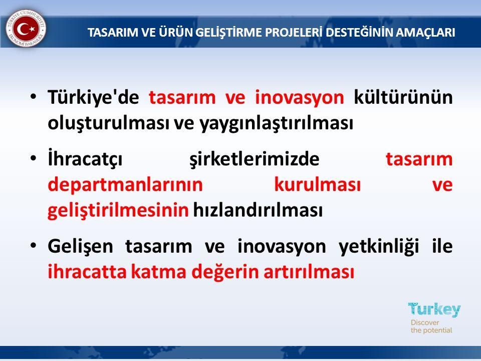 Türkiye'de tasarım ve inovasyon kültürünün oluşturulması ve yaygınlaştırılması İhracatçı şirketlerimizde tasarım departmanlarının kurulması ve gelişti