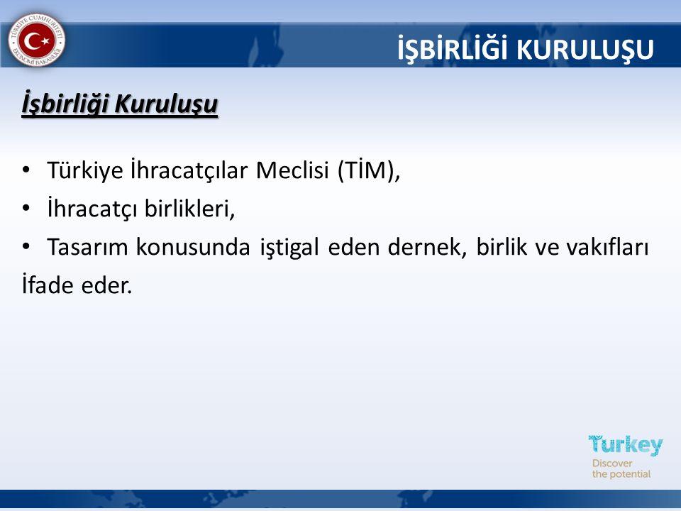 İşbirliği Kuruluşu Türkiye İhracatçılar Meclisi (TİM), İhracatçı birlikleri, Tasarım konusunda iştigal eden dernek, birlik ve vakıfları İfade eder. İŞ