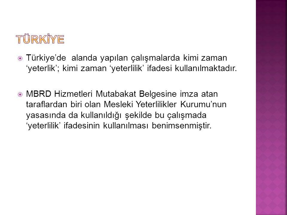  Türkiye'de alanda yapılan çalışmalarda kimi zaman 'yeterlik'; kimi zaman 'yeterlilik' ifadesi kullanılmaktadır.