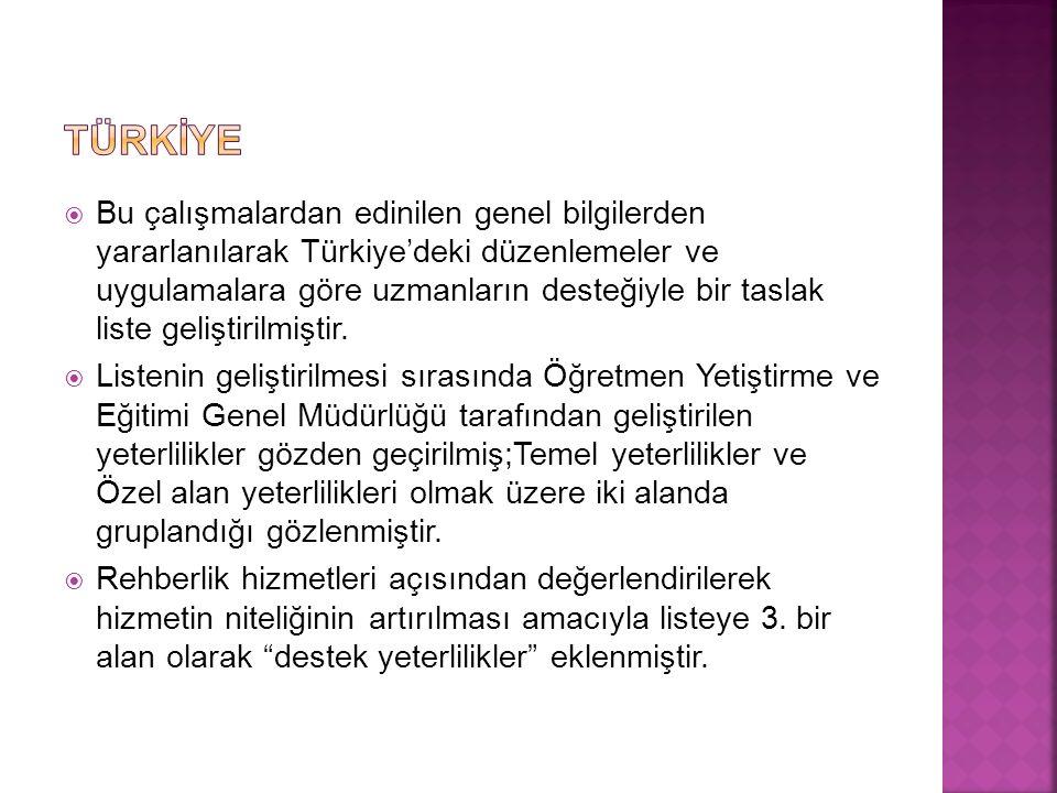  Bu çalışmalardan edinilen genel bilgilerden yararlanılarak Türkiye'deki düzenlemeler ve uygulamalara göre uzmanların desteğiyle bir taslak liste geliştirilmiştir.