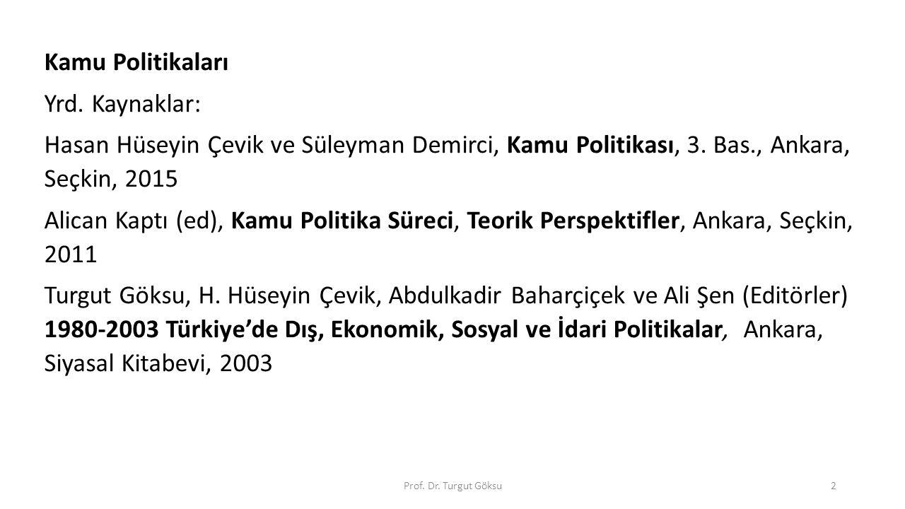 Kamu Politikaları Yrd. Kaynaklar: Hasan Hüseyin Çevik ve Süleyman Demirci, Kamu Politikası, 3. Bas., Ankara, Seçkin, 2015 Alican Kaptı (ed), Kamu Poli