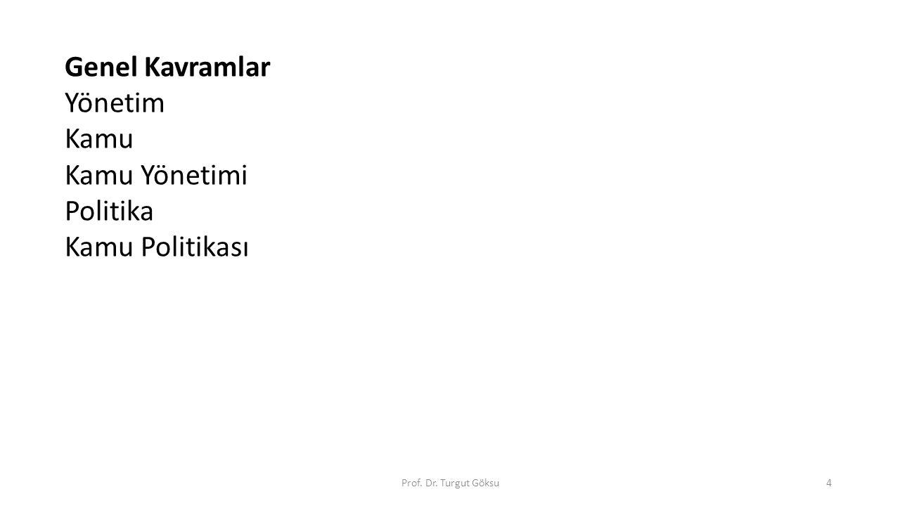 Genel Kavramlar Yönetim Kamu Kamu Yönetimi Politika Kamu Politikası Prof. Dr. Turgut Göksu4
