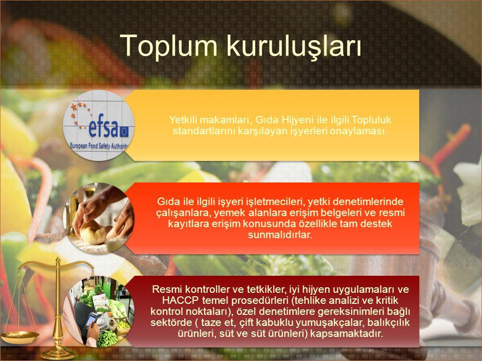 Toplum kuruluşları Yetkili makamları, Gıda Hijyeni ile ilgili Topluluk standartlarını karşılayan işyerleri onaylaması. Gıda ile ilgili işyeri işletmec