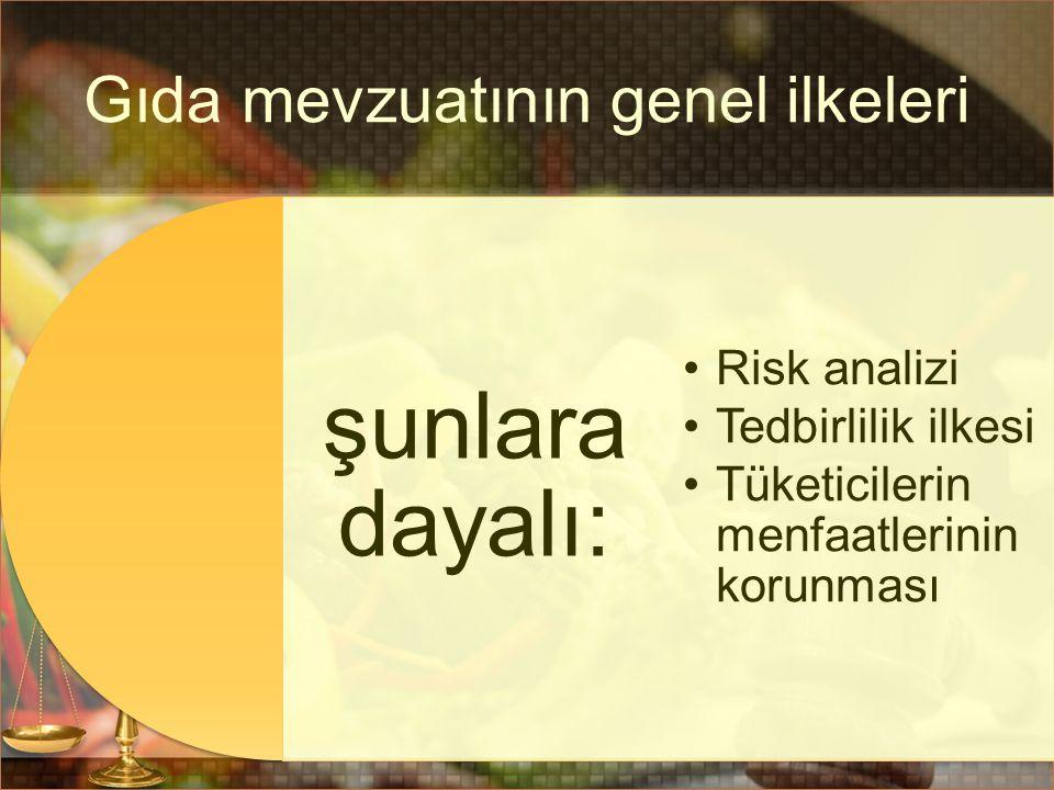 Gıda mevzuatının genel ilkeleri şunlara dayalı: Risk analizi Tedbirlilik ilkesi Tüketicilerin menfaatlerinin korunması