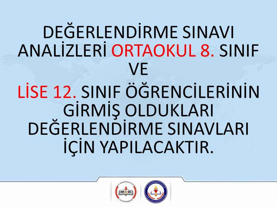 DEĞERLENDİRME SINAVI ANALİZLERİ ORTAOKUL 8. SINIF VE LİSE 12.
