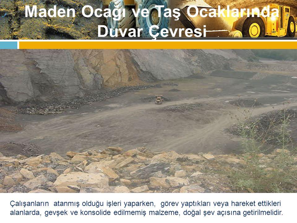 Maden Ocağı ve Taş Ocaklarında Duvar Çevresi Yani, malzeme bu açıyla dengededir ve kendi ağırlığını taşıyabilir, bu açıda herhangi bir çökme beklenmez.