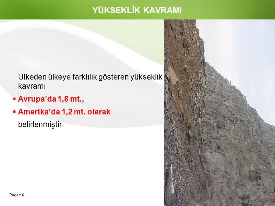Page  6 YÜKSEKLİK KAVRAMI Ülkeden ülkeye farklılık gösteren yükseklik kavramı  Avrupa'da 1,8 mt.,  Amerika'da 1,2 mt. olarak belirlenmiştir.