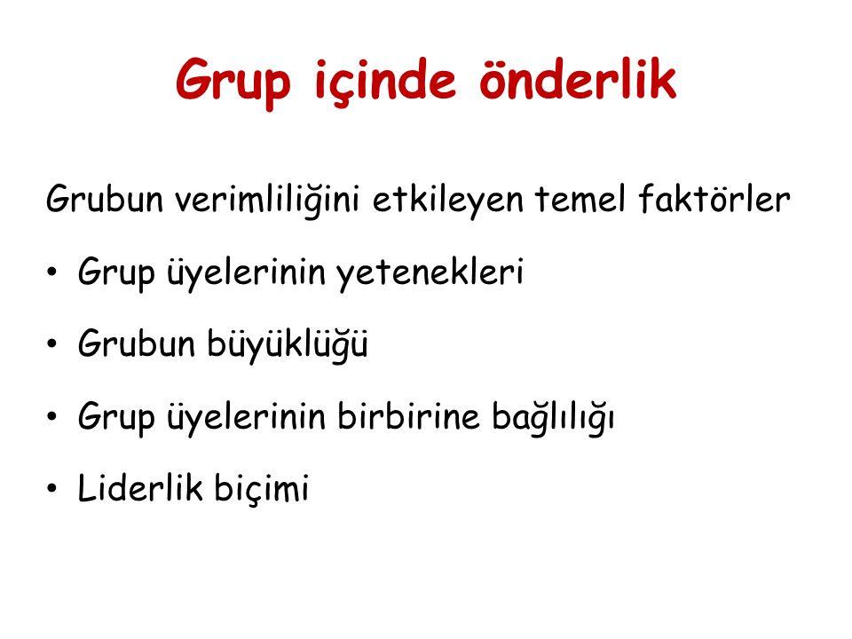Grup içinde önderlik Grubun verimliliğini etkileyen temel faktörler Grup üyelerinin yetenekleri Grubun büyüklüğü Grup üyelerinin birbirine bağlılığı Liderlik biçimi