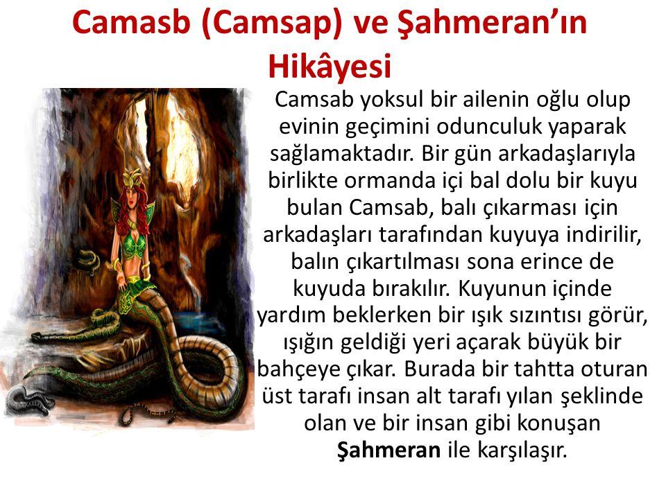 Yılanların şahı olup yer altında diğer yılanlarla birlikte yaşayan Şahmeran, Camsab'a korkmamasını ve bir süre kendilerinin misafiri olacağını söyler.