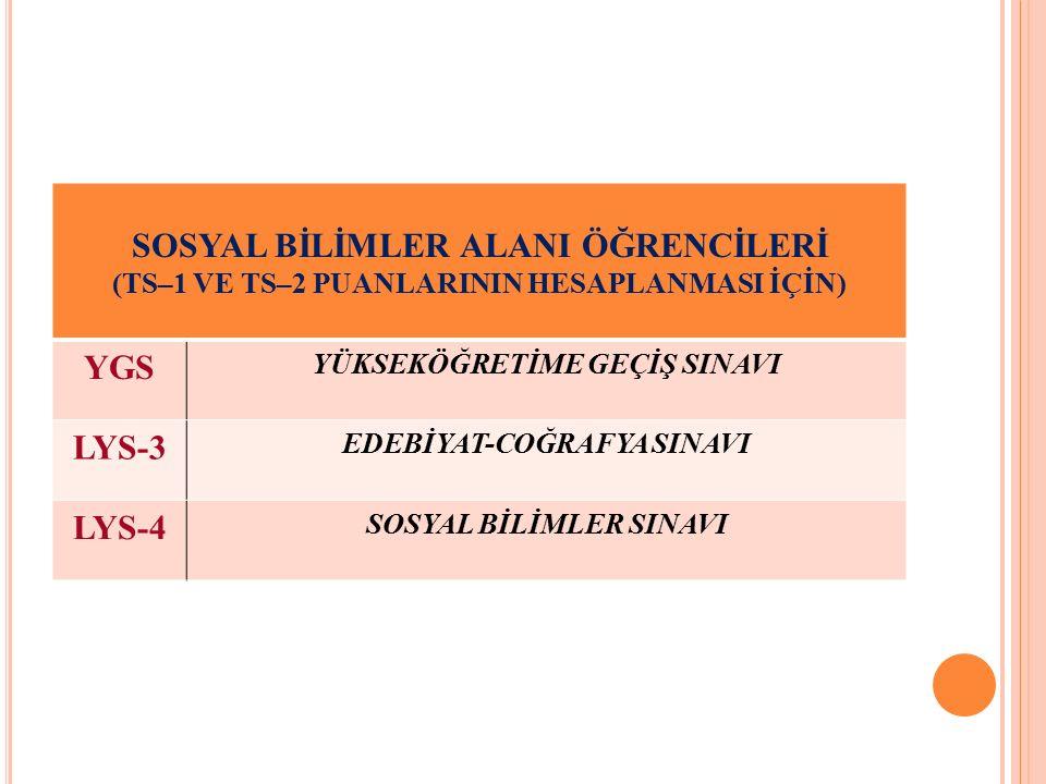 SOSYAL BİLİMLER ALANI ÖĞRENCİLERİ (TS–1 VE TS–2 PUANLARININ HESAPLANMASI İÇİN) YGS YÜKSEKÖĞRETİME GEÇİŞ SINAVI LYS-3 EDEBİYAT-COĞRAFYA SINAVI LYS-4 SOSYAL BİLİMLER SINAVI