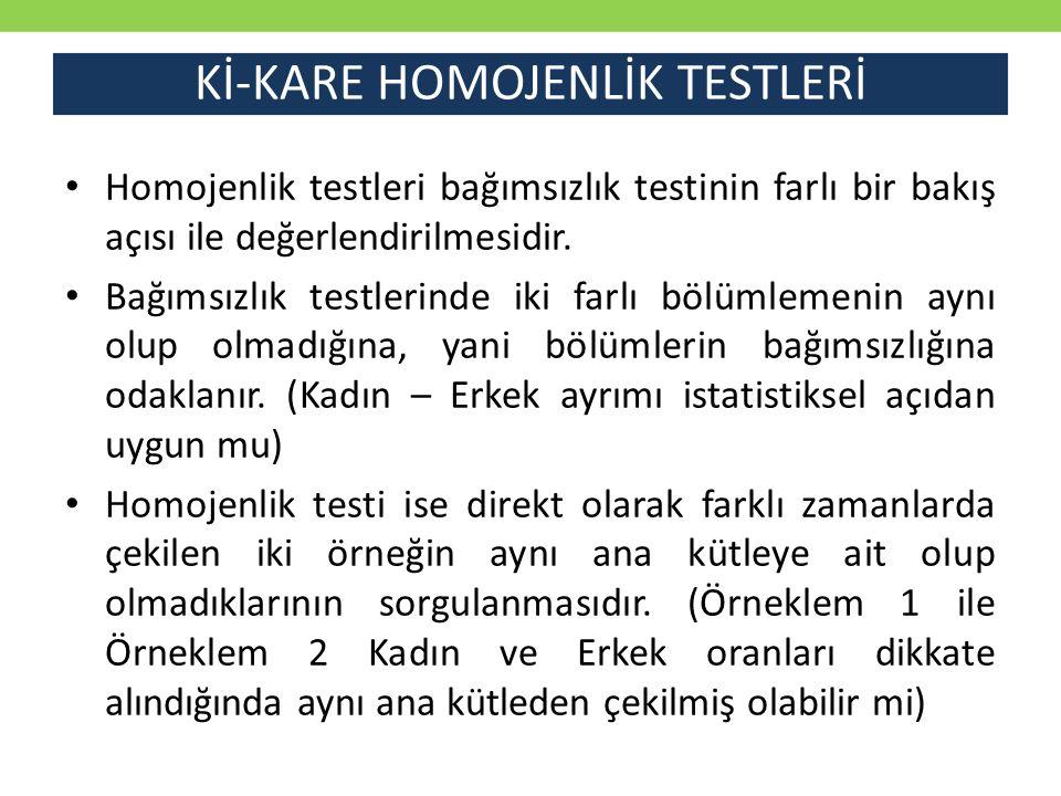 Kİ-KARE HOMOJENLİK TESTLERİ Homojenlik testleri bağımsızlık testinin farlı bir bakış açısı ile değerlendirilmesidir. Bağımsızlık testlerinde iki farlı