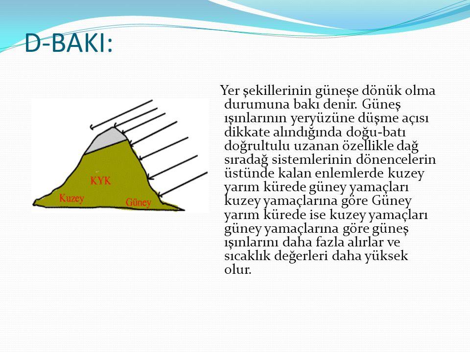 D-BAKI: Yer şekillerinin güneşe dönük olma durumuna bakı denir. Güneş ışınlarının yeryüzüne düşme açısı dikkate alındığında doğu-batı doğrultulu uzana