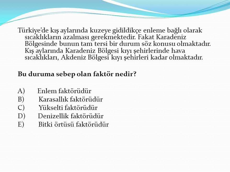 Türkiye'de kış aylarında kuzeye gidildikçe enleme bağlı olarak sıcaklıkların azalması gerekmektedir. Fakat Karadeniz Bölgesinde bunun tam tersi bir du