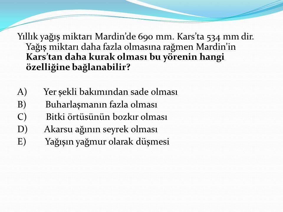Yıllık yağış miktarı Mardin'de 690 mm. Kars'ta 534 mm dir. Yağış miktarı daha fazla olmasına rağmen Mardin'in Kars'tan daha kurak olması bu yörenin ha