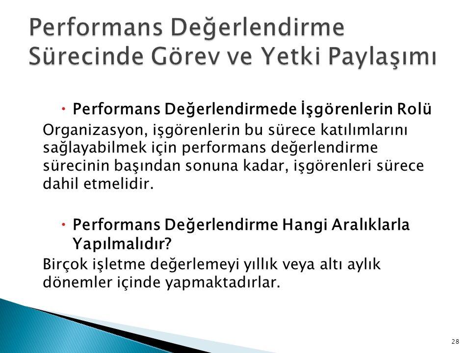  Performans Değerlendirmede İşgörenlerin Rolü Organizasyon, işgörenlerin bu sürece katılımlarını sağlayabilmek için performans değerlendirme sürecini