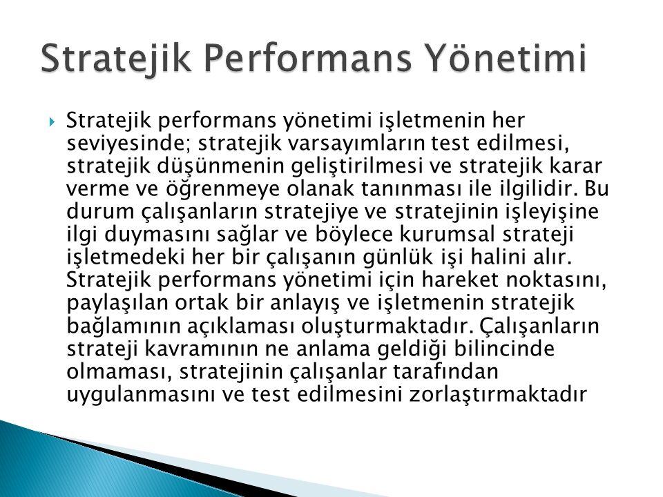  Stratejik performans yönetimi işletmenin her seviyesinde; stratejik varsayımların test edilmesi, stratejik düşünmenin geliştirilmesi ve stratejik ka