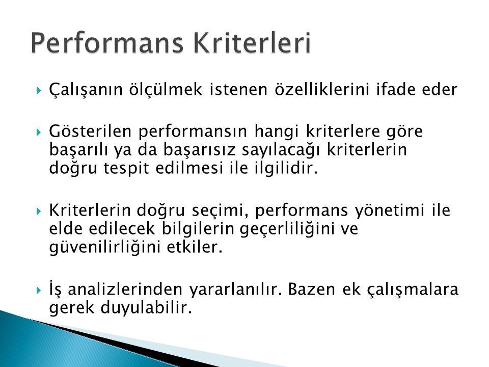  Çalışanın ölçülmek istenen özelliklerini ifade eder  Gösterilen performansın hangi kriterlere göre başarılı ya da başarısız sayılacağı kriterlerin
