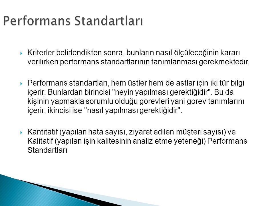  Kriterler belirlendikten sonra, bunların nasıl ölçüleceğinin kararı verilirken performans standartlarının tanımlanması gerekmektedir.  Performans s