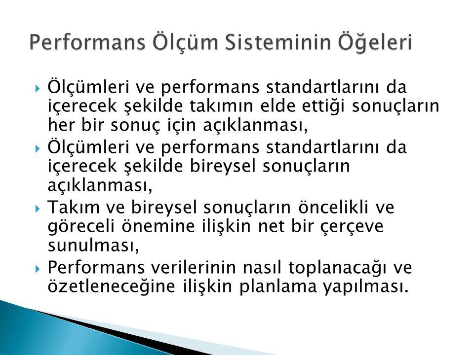  Ölçümleri ve performans standartlarını da içerecek şekilde takımın elde ettiği sonuçların her bir sonuç için açıklanması,  Ölçümleri ve performans