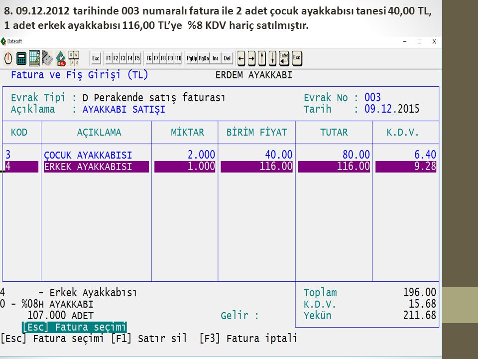 8. 09.12.2012 tarihinde 003 numaralı fatura ile 2 adet çocuk ayakkabısı tanesi 40,00 TL, 1 adet erkek ayakkabısı 116,00 TL'ye %8 KDV hariç satılmıştır