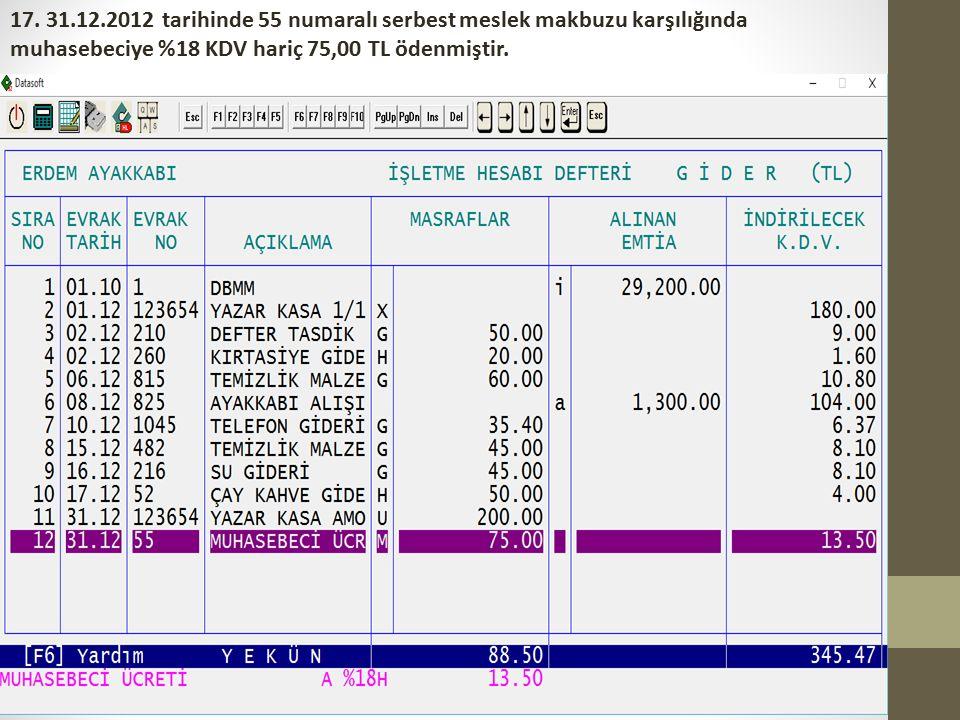 17. 31.12.2012 tarihinde 55 numaralı serbest meslek makbuzu karşılığında muhasebeciye %18 KDV hariç 75,00 TL ödenmiştir.