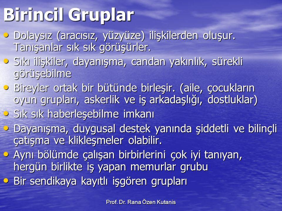 Prof.Dr. Rana Özen Kutanis İkincil gruplar Ortak, yüce ülkü ve idealler üzerine kurulur.