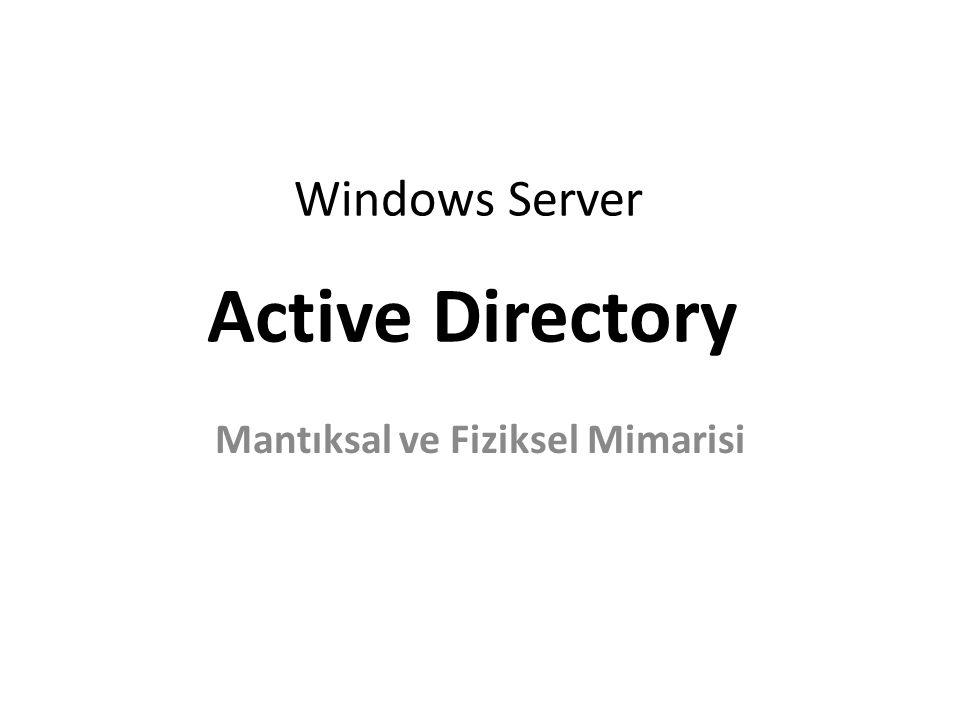 Windows Server Mantıksal ve Fiziksel Mimarisi Active Directory