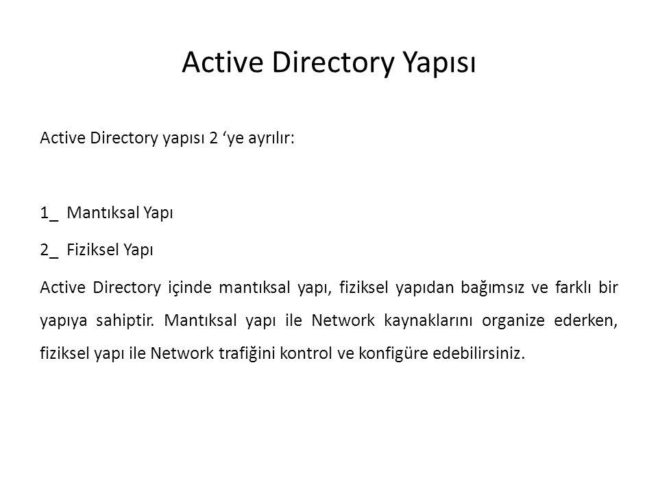 Active Directory Yapısı Active Directory yapısı 2 'ye ayrılır: 1_ Mantıksal Yapı 2_ Fiziksel Yapı Active Directory içinde mantıksal yapı, fiziksel yap