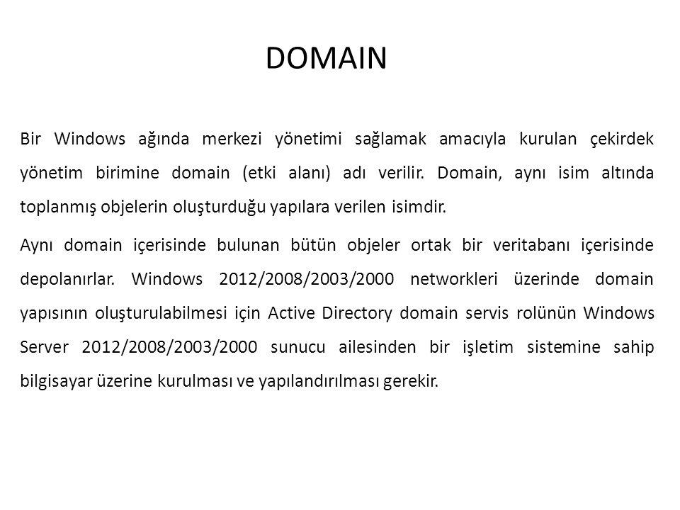 DOMAIN Bir Windows ağında merkezi yönetimi sağlamak amacıyla kurulan çekirdek yönetim birimine domain (etki alanı) adı verilir. Domain, aynı isim altı