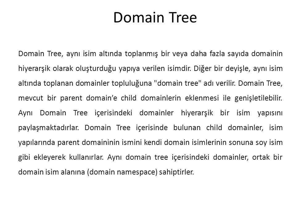 Domain Tree Domain Tree, aynı isim altında toplanmış bir veya daha fazla sayıda domainin hiyerarşik olarak oluşturduğu yapıya verilen isimdir. Diğer b