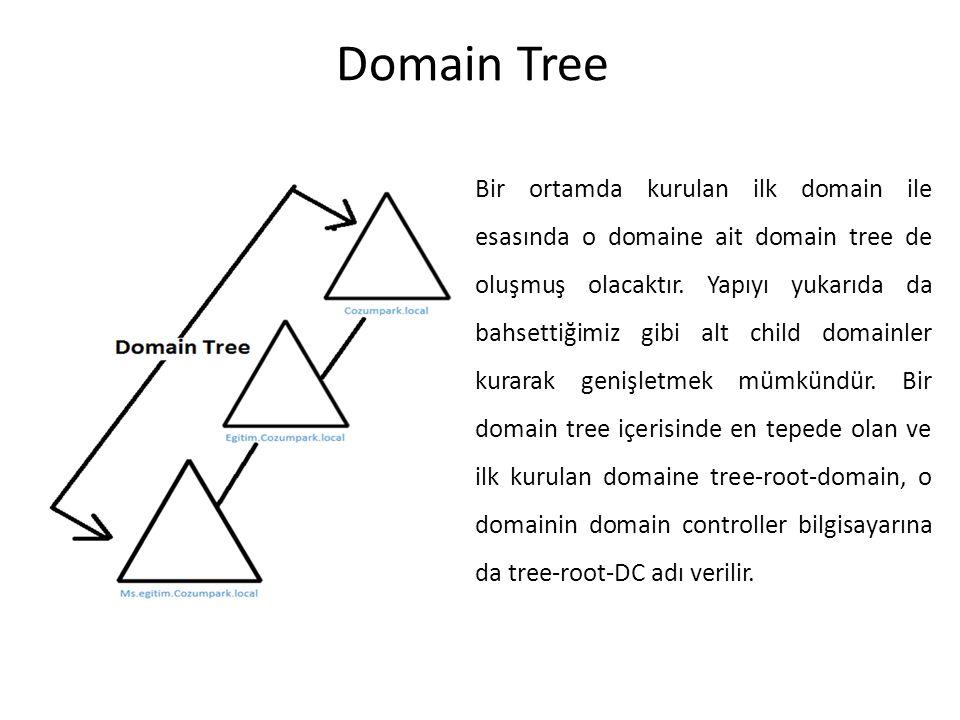 Domain Tree Bir ortamda kurulan ilk domain ile esasında o domaine ait domain tree de oluşmuş olacaktır. Yapıyı yukarıda da bahsettiğimiz gibi alt chil