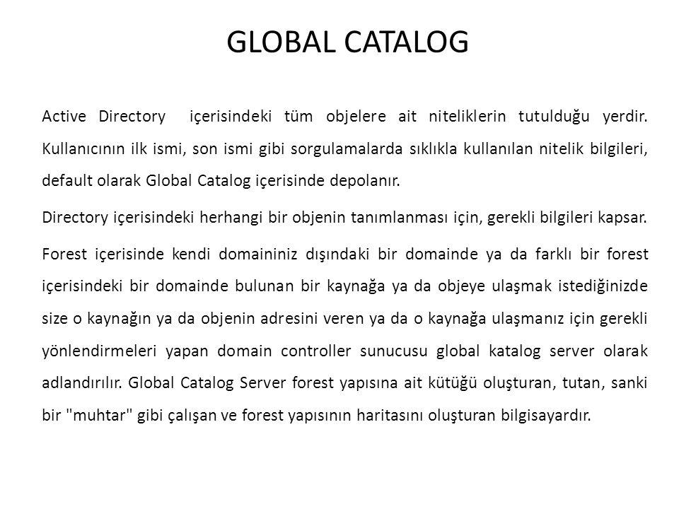 GLOBAL CATALOG Active Directory içerisindeki tüm objelere ait niteliklerin tutulduğu yerdir. Kullanıcının ilk ismi, son ismi gibi sorgulamalarda sıklı