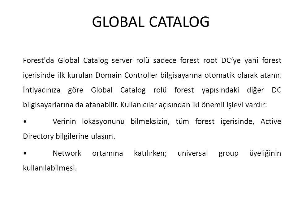 GLOBAL CATALOG Forest'da Global Catalog server rolü sadece forest root DC'ye yani forest içerisinde ilk kurulan Domain Controller bilgisayarına otomat
