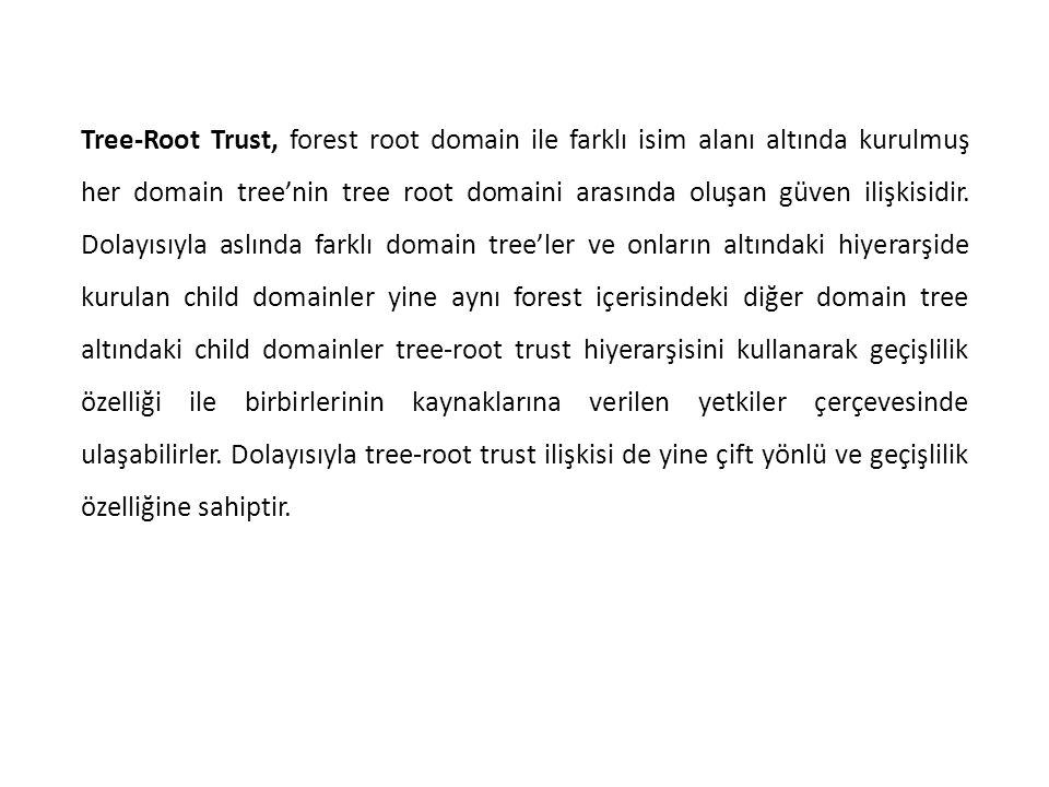 Tree-Root Trust, forest root domain ile farklı isim alanı altında kurulmuş her domain tree'nin tree root domaini arasında oluşan güven ilişkisidir. Do