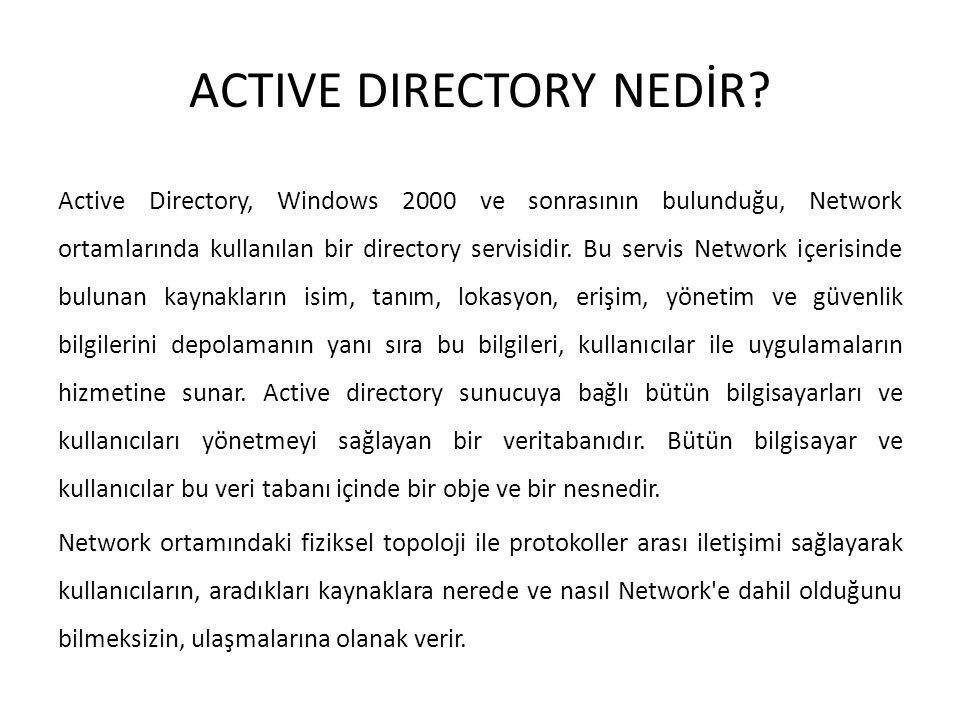 ACTIVE DIRECTORY NEDİR? Active Directory, Windows 2000 ve sonrasının bulunduğu, Network ortamlarında kullanılan bir directory servisidir. Bu servis Ne