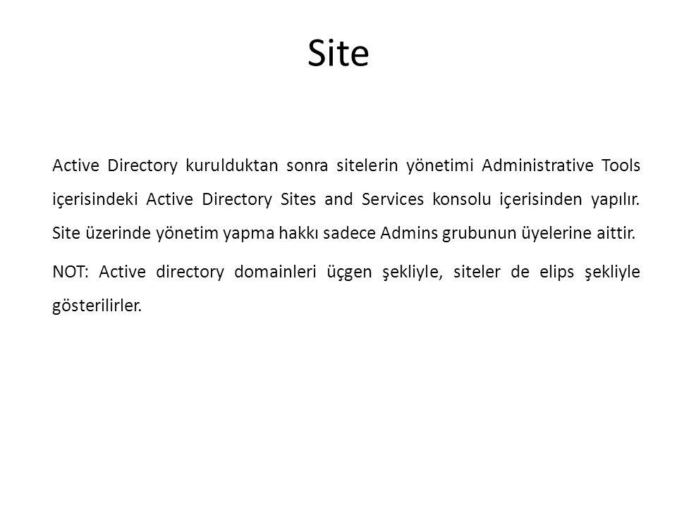 Site Active Directory kurulduktan sonra sitelerin yönetimi Administrative Tools içerisindeki Active Directory Sites and Services konsolu içerisinden y