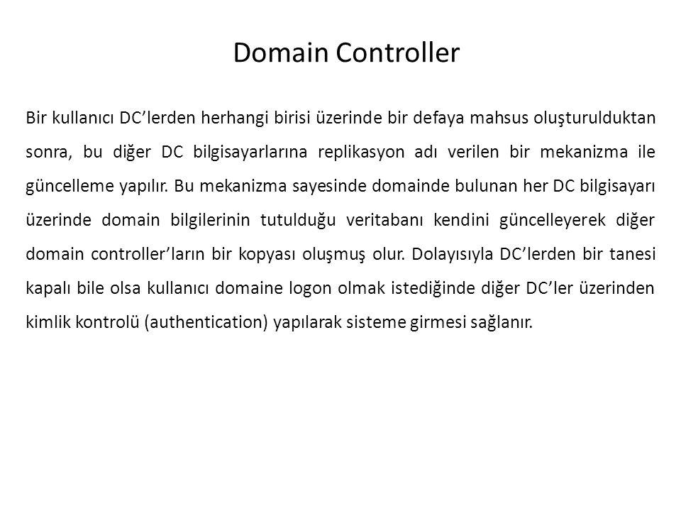 Domain Controller Bir kullanıcı DC'lerden herhangi birisi üzerinde bir defaya mahsus oluşturulduktan sonra, bu diğer DC bilgisayarlarına replikasyon a