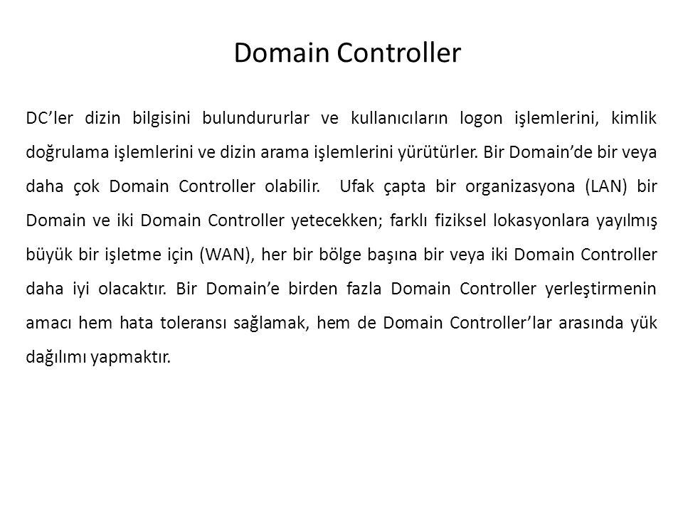 Domain Controller DC'ler dizin bilgisini bulundururlar ve kullanıcıların logon işlemlerini, kimlik doğrulama işlemlerini ve dizin arama işlemlerini yü