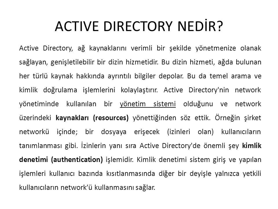 ACTIVE DIRECTORY NEDİR? Active Directory, ağ kaynaklarını verimli bir şekilde yönetmenize olanak sağlayan, genişletilebilir bir dizin hizmetidir. Bu d